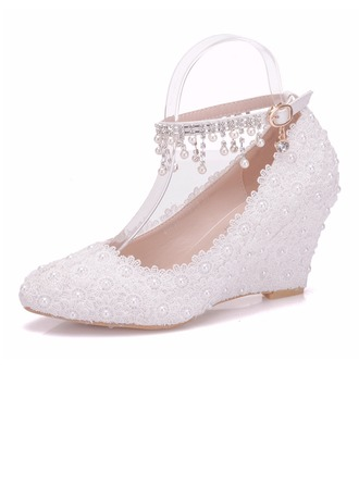 Women's Leatherette Wedge Heel Closed Toe Wedges With Satin Flower Tassel Crystal