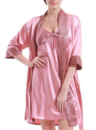 Bride Bridesmaid Silk With Knee-Length Satin Robes Girl Robes