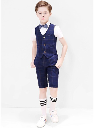 Boys 4 Pieces Plaid Ring Bearer Suits /Page Boy Suits With Shirt Vest Bow Tie Shorts