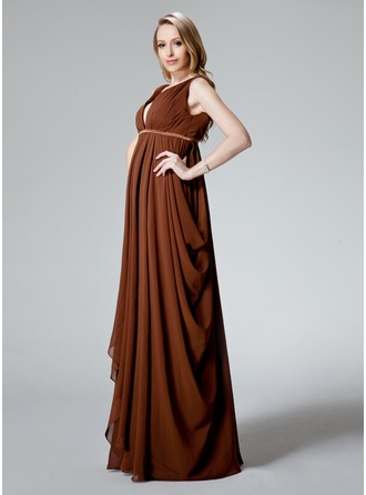 Empire V-neck Floor-Length Chiffon Maternity Bridesmaid Dress With Ruffle