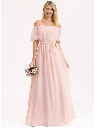Off-the-Shoulder Floor-Length Chiffon Bridesmaid Dress With Bow(s) Cascading Ruffles