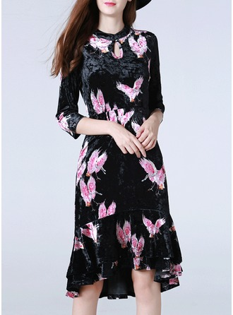 Velvet With Print Knee Length Dress