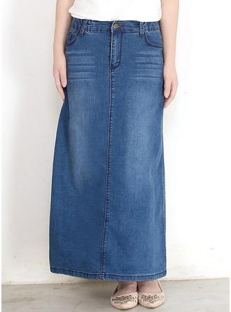 Denim Plain Maxi Demin Skirts