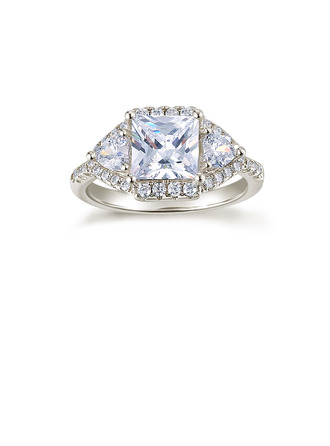 Sterling Silver Cubic Zirconia Halo Three Stone Baguette Cut Engagement Rings Promise Rings -