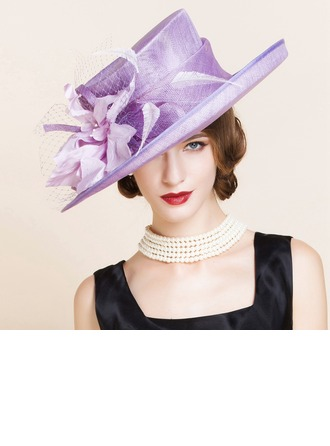 Ladies' Pretty Summer Cambric/Net Yarn With Feather Bowler/Cloche Hat