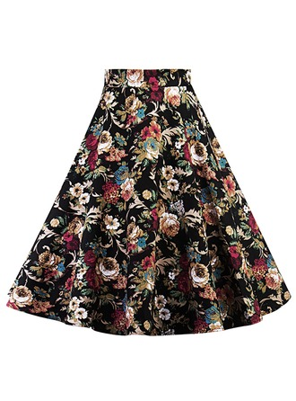 A-Line Skirts Above Knee Floral Cotton Blends Skirts