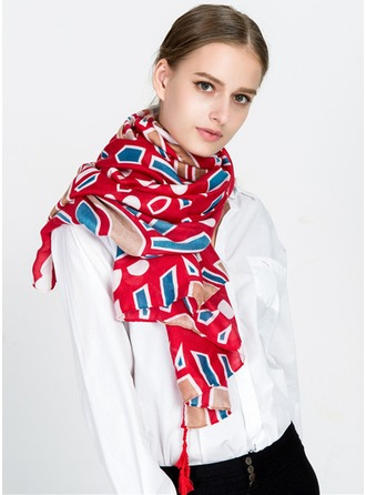 Geometric Print Light Weight/Oversized Cotton/Linen Scarf