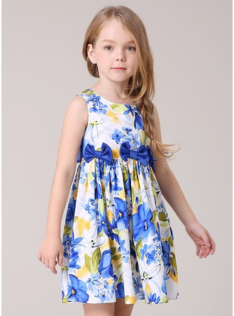 A-Line/Princess Short/Mini Flower Girl Dress - Polyester/Cotton Blends Sleeveless Scoop Neck With Bow(s)
