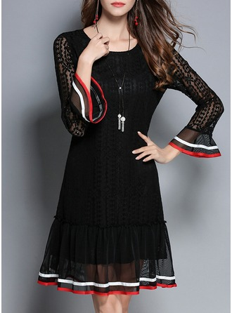 Polyester With Lace/Stitching/Ruffles Knee Length Dress