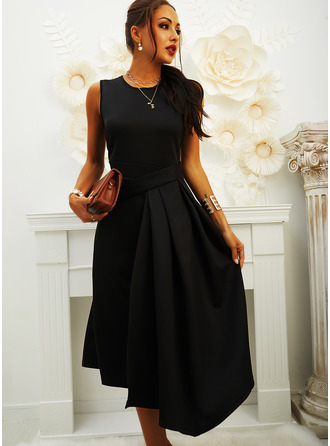Solid A-line Round Neck Sleeveless Midi Casual Little Black Skater Dresses