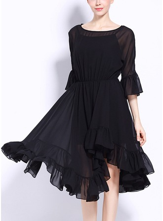 Polyester With Stitching/Resin solid color Asymmetrical Dress
