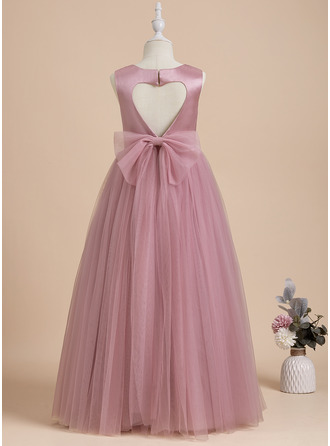 Ball-Gown/Princess Floor-length Flower Girl Dress - Satin Tulle Sleeveless Scoop Neck With Bow(s) Back Hole