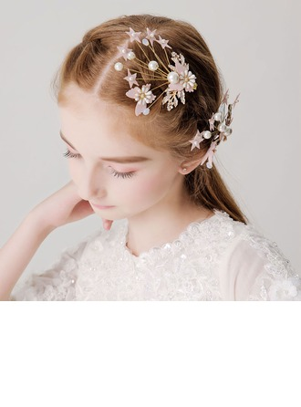 With Flower/Pearl Hairpins (Set of 2)
