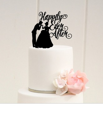 Figurine/Letter Bride And Groom/Happily Ever After Acrylic Wedding Cake Topper