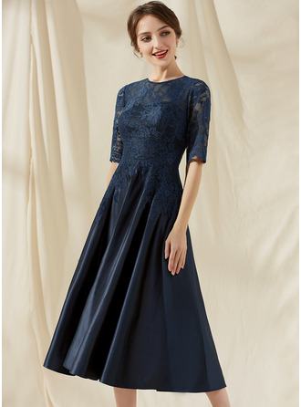 A-Line Scoop Neck Tea-Length Satin Lace Cocktail Dress