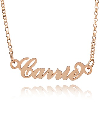 Custom 18k Rose Gold Plated Carrie Name Necklace - Valentines Gifts
