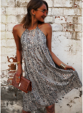 Leopard Print Shift Halter Sleeveless Midi Casual Dresses