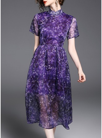 Silk With Stitching/Crumple Midi Dress