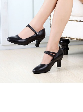 Women's Real Leather Heels Latin With Buckle Dance Shoes