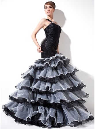 Trumpet/Mermaid One-Shoulder Sweep Train Organza Prom Dress With Ruffle Beading Split Front Cascading Ruffles