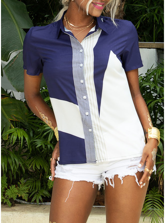Short Sleeves Polyester Lapel Shirt Blouses Blouses
