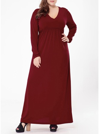 Polyester With Stitching/Resin solid color Maxi Dress