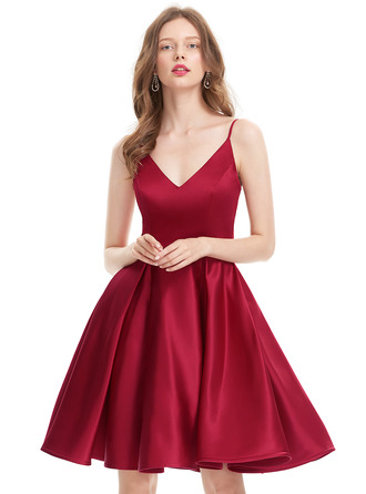 V-neck Knee-Length Satin Prom Dresses
