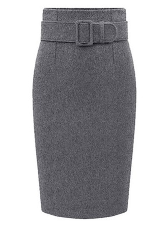 Bodycon Skirts Knee Length Plain Woollen Skirts