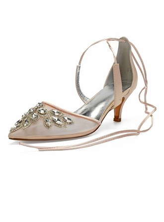 Women's Lace Silk Like Satin Mesh Kitten Heel Sandals With Rhinestone Hollow-out Lace-up
