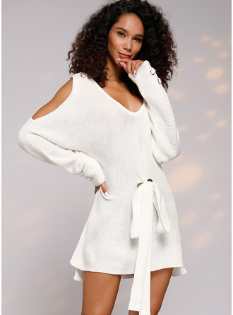 Cable-knit Chunky knit Solid Polyester V-neck Pullovers Sweater Dresses Sweaters