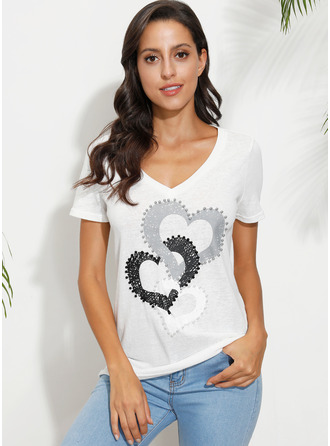 Manches courtes Coton Polyester Col V T-shirt Blouses