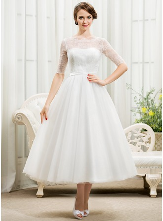 A-Line/Princess Scoop Neck Tea-Length Tulle Lace Wedding Dress With Bow(s)