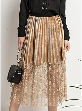 Polyester Lace Mid-Calf Pleated Skirts