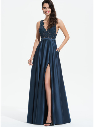 V-neck Floor-Length Satin Prom Dresses With Lace Sequins Split Front Pockets