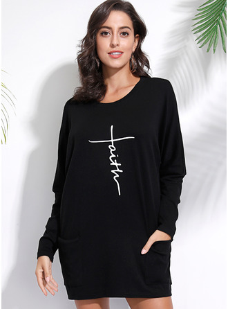 Long Sleeves Cotton Polyester Round Neck Вязание Блузы