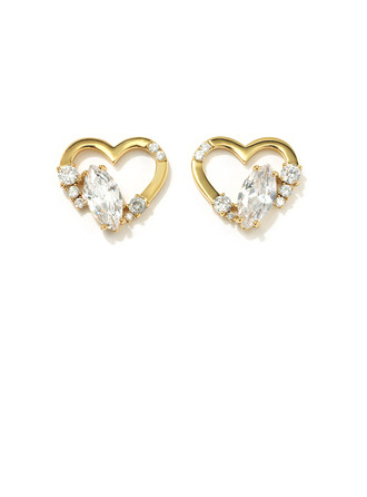 Ladies' Heart Shaped Copper/Cubic Zirconia With Marquise Cubic Zirconia Earrings For Her