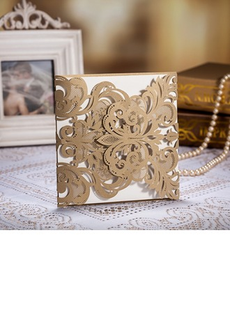 Blumen-Stil Gate-Fold Invitation Cards