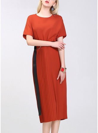 Polyester/Chiffon With Crumple Knee Length Dress