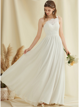 One-Shoulder Floor-Length Chiffon Lace Wedding Dress With Split Front
