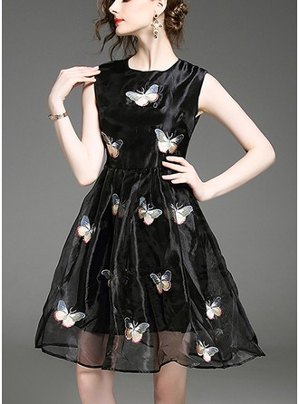Organza With Stitching/Embroidery/Crumple/See-through Look Above Knee Dress