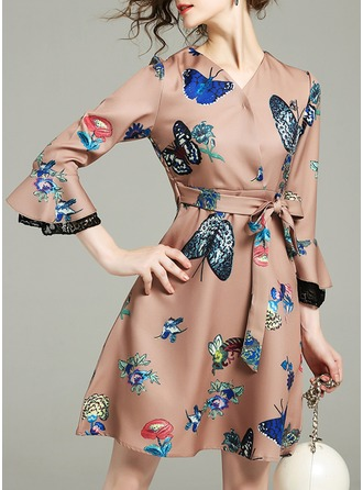 Polyester/Cotton/Spandex With Print Above Knee Dress
