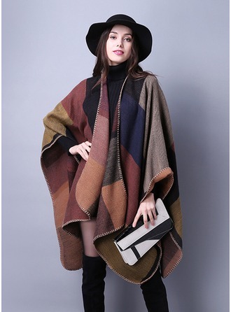 Geometric Print Oversized/Cold weather Acrylic/Artificial Wool Poncho