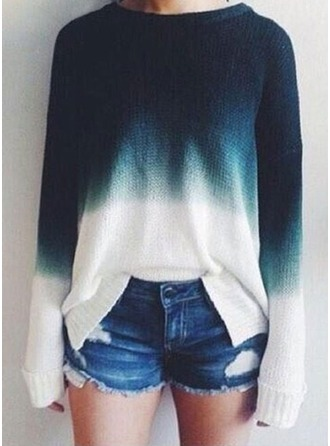 Color Block Knit Round Neck Sweater Sweaters