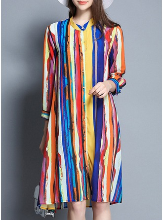 Polyester/Cotton With Print Asymmetrical Dress