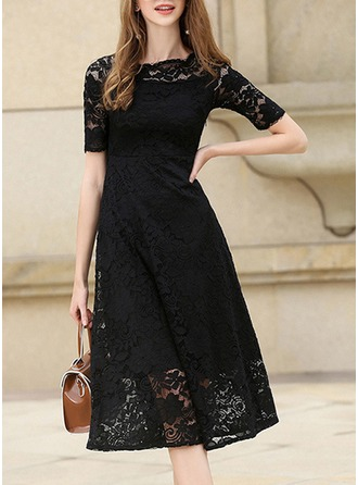 Lace With Lace/Stitching/Hollow/Crumple/See-through Look Midi Dress