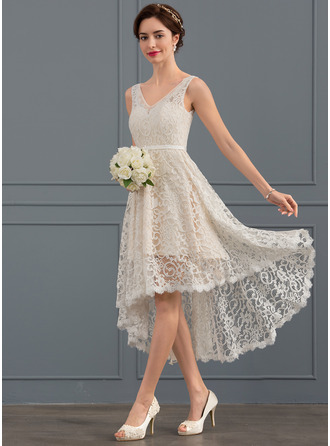 V-neck Asymmetrical Lace Wedding Dress