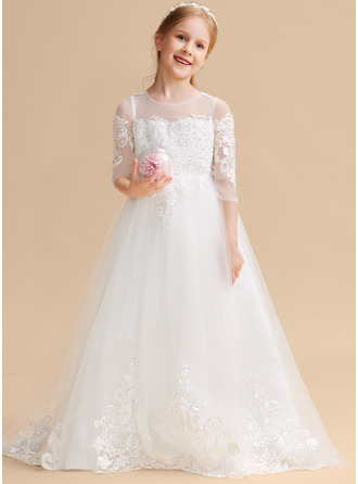 Ball-Gown/Princess Sweep Train Flower Girl Dress - Tulle Lace Long Sleeves Scoop Neck With Sequins Bow(s)