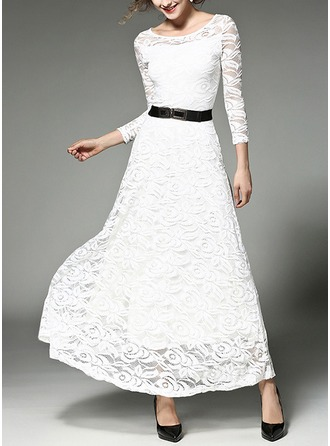 Lace With Stitching Maxi Dress