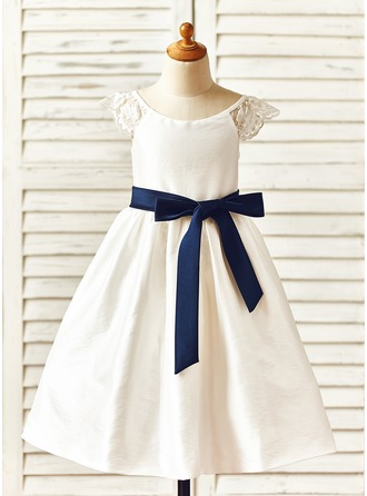 A-Line/Princess Tea-length Flower Girl Dress - Taffeta Short Sleeves Scoop Neck With Sash