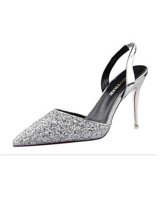 Women's Sparkling Glitter Stiletto Heel Closed Toe Pumps Sandals Slingbacks With Others